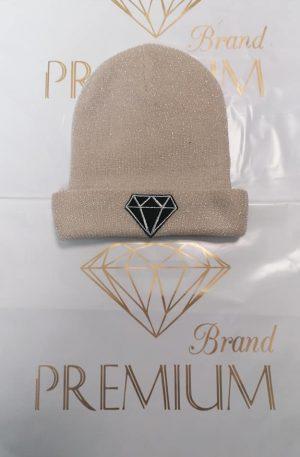 DIAMOND ** czapka beige ze złotą nitką kryształ **
