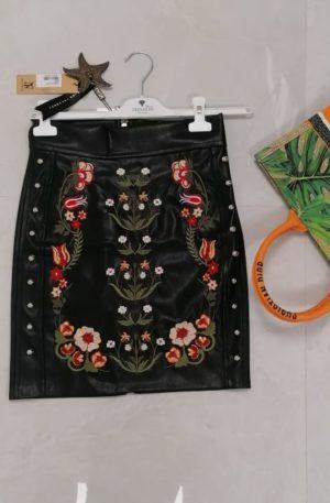 Spódnica Nice Eco Skóra + haft – WYPRZEDAŻ