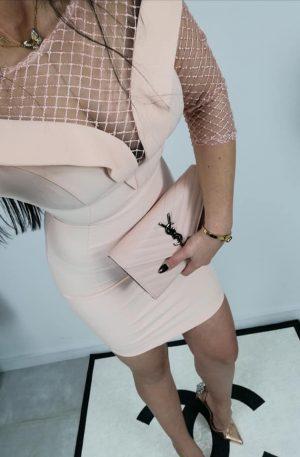 Sukienka LEIA pudra + siatka ****