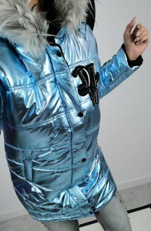 Płaszcz VSN PERLA BLUE + futro