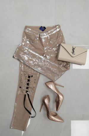 Spodnie Sherhoff beige + silver – WYPRZEDAŻ