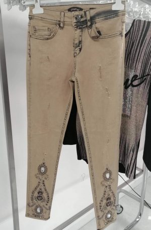 Spodnie D-SHE Miley Beige+ kamienie