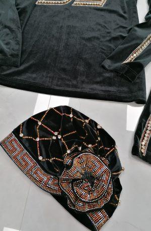 Czapka Jazz Aksamit Black + kryształki