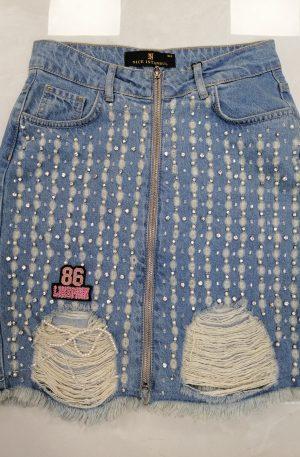 Spódnica NICE Jeans + kryształki – WYPRZEDAŻ