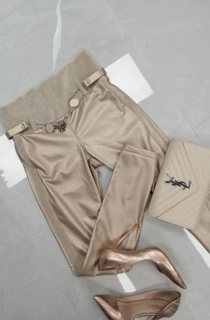 Spodnie Skinny Beige + eco skóra