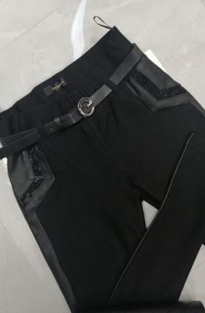 Spodnie ESTENSIVO Black + eco skóra