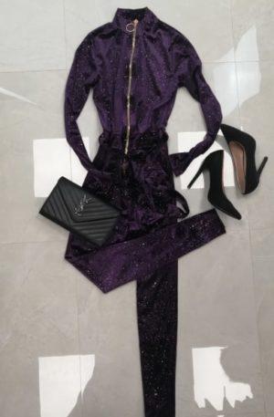Luksusowy KOMBINEZON Violett + wtopione płatki