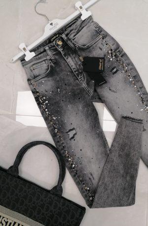Spodnie D-SHE Luxury Denim GREY+ kamienie