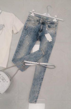 Spodnie D-SHE Luxury Denim Skinny BLUE+ kamienie