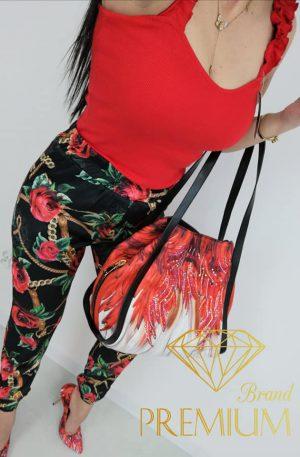 Spodnie BRANDI róże + koronka