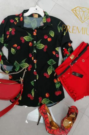 Koszula SUMMER BRAND PREMIUM cherry + pomponiki