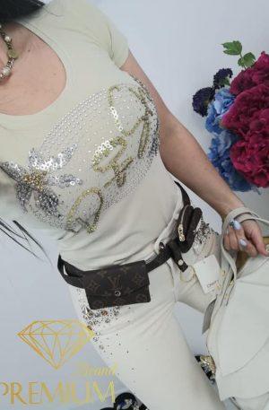 Bluzeczka SHINY PALM BEIGE D SHE