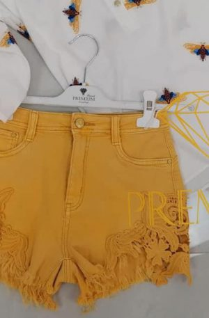 Spodenki BASTI Jeans z koronką miodowe