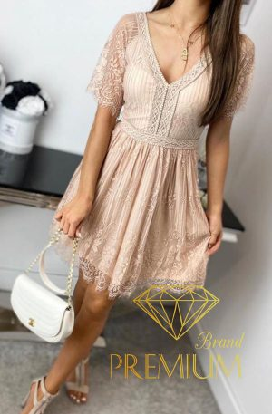 Sukienka LACE FLIRT beige