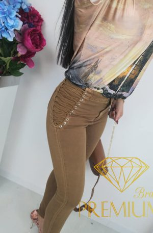 HOT! Spodnie sznurowane Excellent Fashion Jeans camel