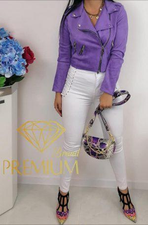 HOT! Spodnie sznurowane Excellent Fashion Jeans white
