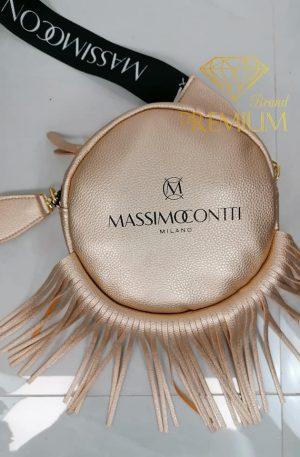 Torebka CIRCLE Massimo Contti frędzle gold pearl